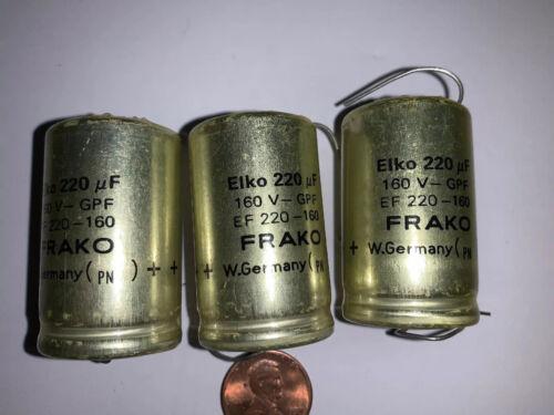 FRAKO GPF 220uF  160 Volt  Electrolytic Capacitor Axial NOS PN Quantity Of 3