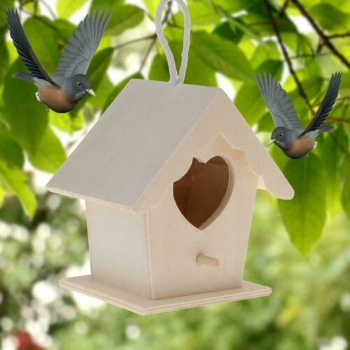 Wooden Bird House Nesting Box For Small Birds Garden Decor Z9Q5