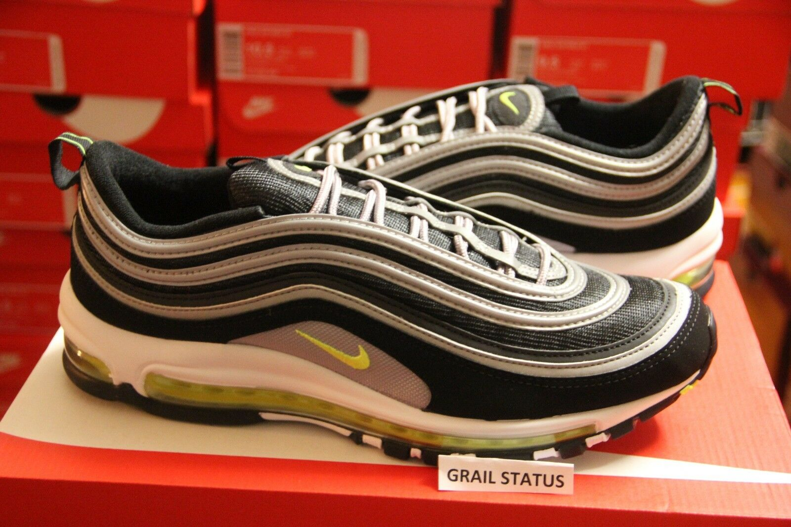 Nike Volt Air Max 97 Japón Og Negro Volt Nike Plata Retro Running Hombre 258d82