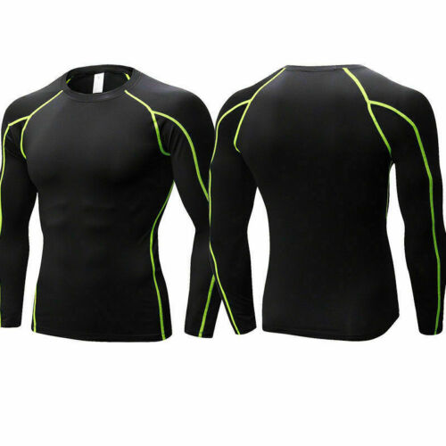 Mens Compression Shirt Running Gym Tops  Long Sleeve Base Layer Tight