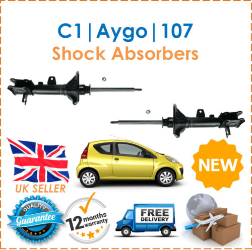 Two Front Gas Shock Absorbers Dampers Set Pair New For C1 107 2005 Aygo