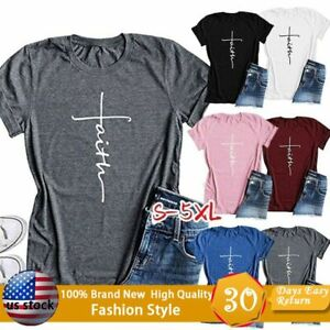 Summer-Womens-Tops-Short-Sleeve-Cross-Faith-T-Shirt-Graphic-Christian-Blouses