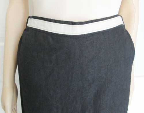 2 e frontale Black Set Sz Shirt gonna Tan Flax Button Lino pezzi S W 100 Trim 7Oq68w