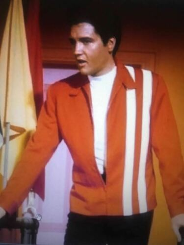 Elvis PRESLEY SPEEDWAY Rosso /& Blu IN FINTA PELLE SLIM FIT GIACCA RIGHE BIANCHE