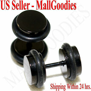 2087-Black-Fake-Cheaters-Illusion-Faux-Plugs-16G-Surgical-Steel-0G-8mm-Medium