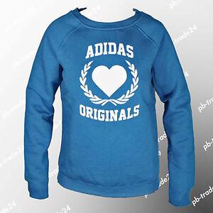 Details zu Adidas Damen Retro Originals College Herz Sweater blau Sweatshirt Pulli Hoodie
