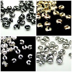 4mm-amp-3-2mm-Round-Crimp-Cover-Findings-Craft-Beading-Silver-amp-Gold-Plated-ML