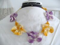 Vintage Hand Crochet Necklace Purple Gold Pansies 20 Long Handmade Unused