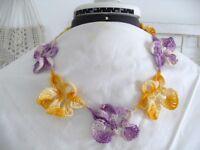 Vintage Hand Crochet Necklace Purple Gold Pansies 20 Long Handmade Unused