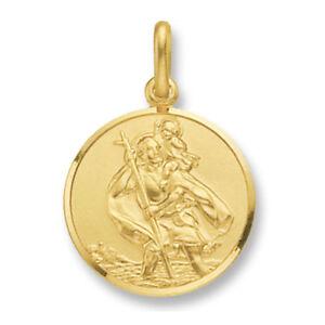 St christopher pendant gold saint christopher 24mm ebay image is loading st christopher pendant gold saint christopher 24mm aloadofball Gallery