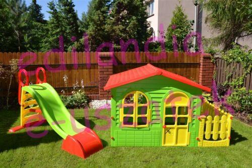 Duży domek ogrodowy z płotkiem 10498 +zjeżdżalnia 180cm z natryskiem wodnym