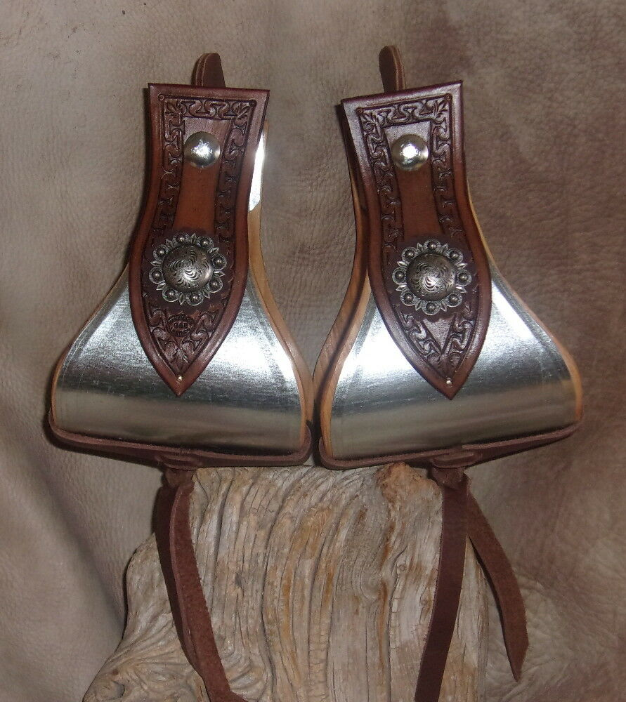 New Wide US Made Metal Bound Bell Stirrups  5  + Berry Conchos, Hand Tooled. G&E  hot
