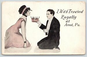 034-I-Was-Treated-Royally-034-at-Arnot-Pennsylvania-Elegant-Couple-Crown-1914-Postcard
