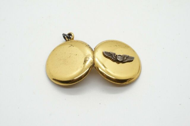 WWII Sterling Army Air Forces Pilot Wings Photo Locket Sweetheart Pendant