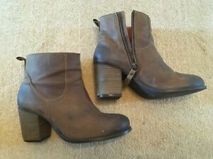 4, Brown Leather Ankle Boots