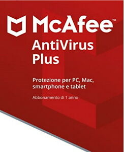 McAfee Antivirus Plus  5 PC 1 ANNO  2021