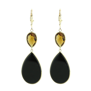 14K Yellow Gold Gemstone Earrings With Cognac Topaz And Black Onyx
