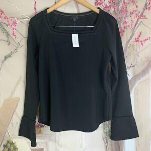 NEW-ANN-TAYLOR-LOFT-Blouse-Top-Peasant-Boho-Black-Womens-Small-Bell-Sleeves