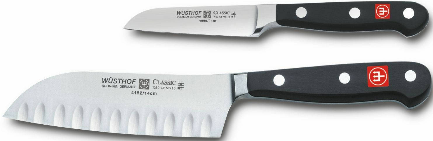 Wusthof Classic Two Piece Mini Asian Knife Set  3  Flat Cut Paring 5  Santoku HE