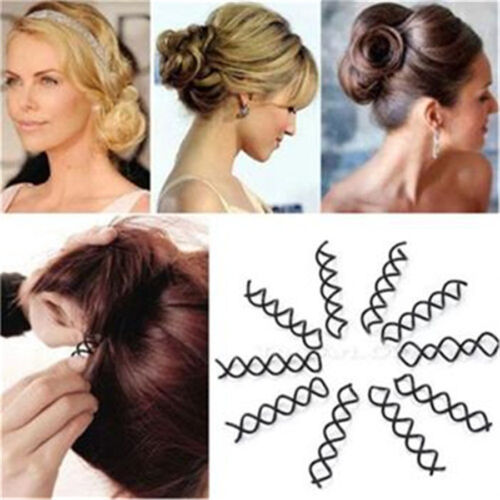 Hair Styling 10X Spiral Spin Schraube Bobby Pin Haarclip Twist Barrette SchwarzW