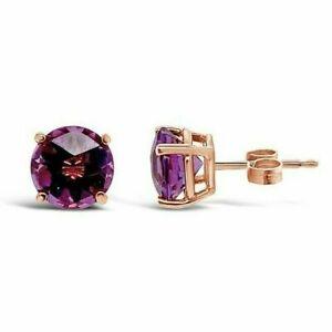 LeVian 14K Rose Gold Purple Amethyst Beautiful 2 CTTW Pushback Stud Earrings