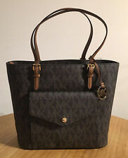 MICHAEL KORS Brown PVC Signature Large Pocket Multifunction Jet Set Tote Bag
