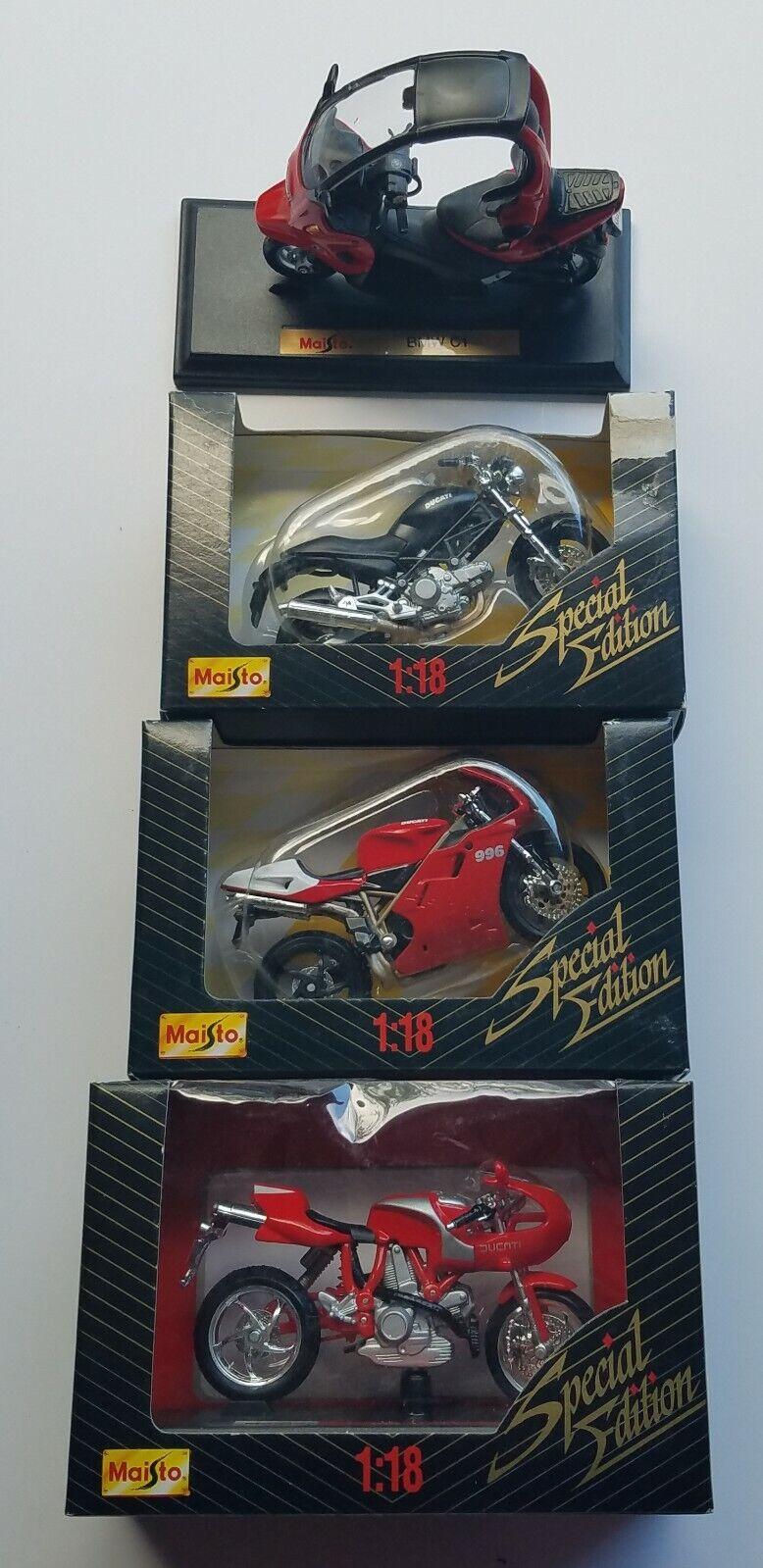 benvenuto per ordinare Lot of 4 4 4 Maisto1 18 Scale Motorcycles Diecast modello 3 nuovo in scatola & 1 Used  100% autentico