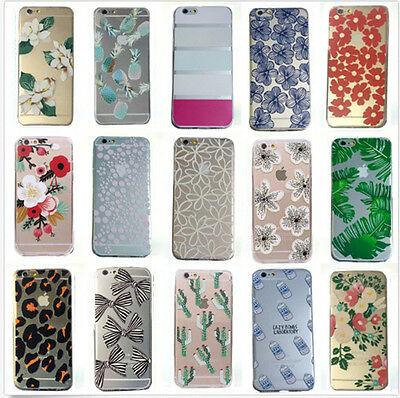 New Clear Soft Silicone TPU Flower Pattern Case Cover For iPhone 5S 5C 6 6 Plus