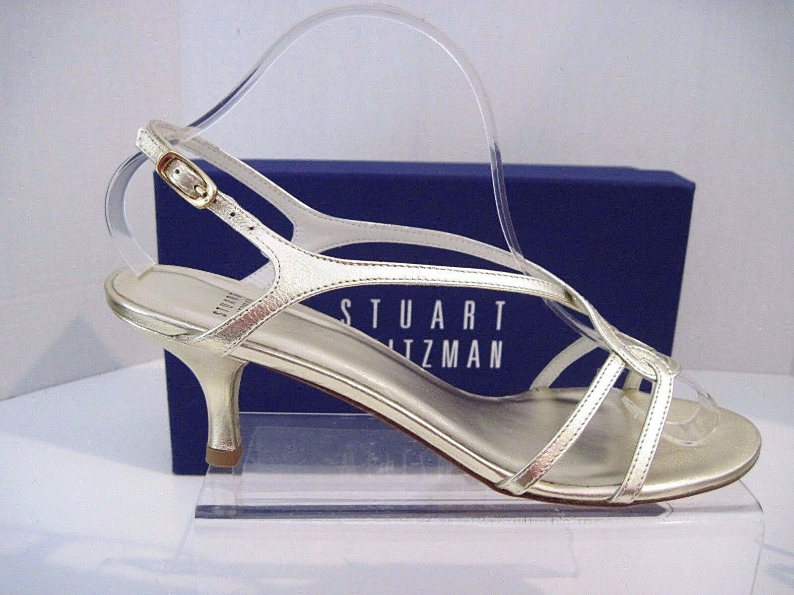 Stuart Weitzman Weitzman Stuart Reversal Gold Supple Kid Pelle Strappy Heels Sandals 8.5 B NEW c7378f