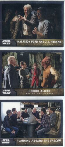 Star Wars Force Awakens Chrome Complete Behind The Scenes Chase Card Set #1-12