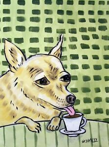 chihuahua dog art - giclee archival dog print - wall art 11x14 -  coffee decor