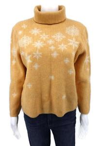 ESCADA-Wool-Silk-Cashmere-Sweater-Top-sz-44-M-L-Peach-White-Snowflake-Turtleneck