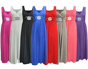 New-Womens-Ladies-Bridesmaid-Cocktail-Evening-Prom-Buckle-Plus-Size-Maxi-Dress
