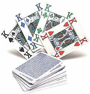 Copag 4 Colour 100 Plastic Playing Cards Poker Size Jumbo Index Blue Back