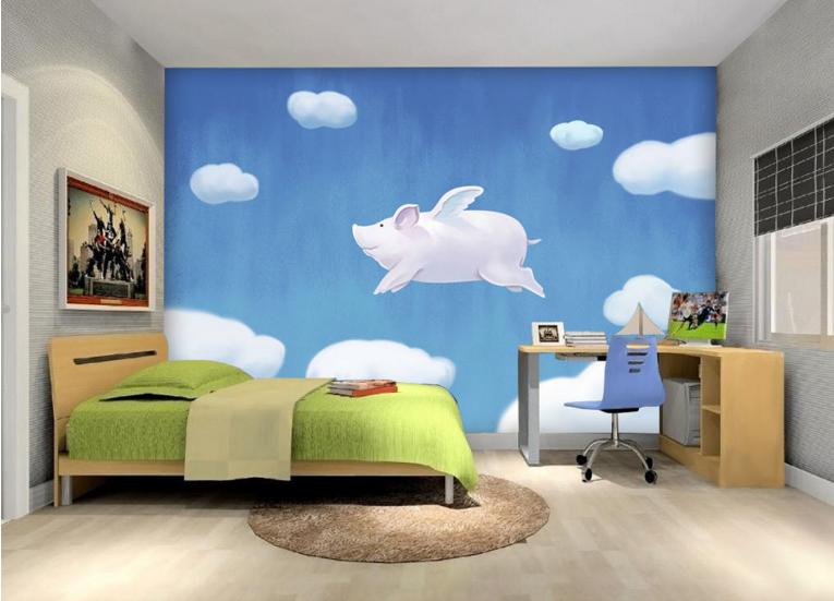 3D Himmel Fliegen Schwein 85 Tapete Wandgemälde Tapete Tapeten Bild Familie DE