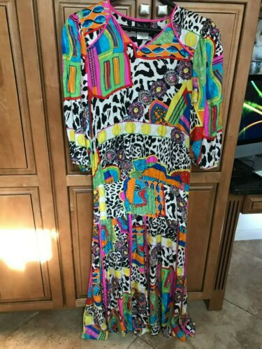 Vintage Diane Fres Colorful Silk Long Dress Size M