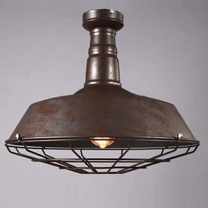 Industrial Rustic Cage Ceiling Light Semi Flush Mount