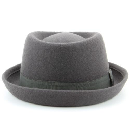 Bonnet en laine 100/% feutre Pork Pie avec Bande Gris Rétro 80 S style NEW JAZZ Ska