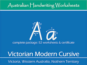 handwriting practice worksheets victorian modern cursive for vic wa and nt ebay. Black Bedroom Furniture Sets. Home Design Ideas