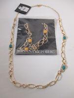 Banana Republic Gold Cabochon Crystal Layering Necklace $35 Y B Set Of 2