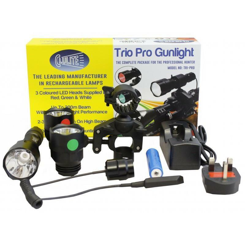 Trío Clulite Pro Rojo-verde-blancooo LED antorcha gunlight Lamping Kit 300m alcance del haz
