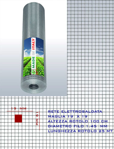 RETE METALLICA ZINCATA RECINZIONE GABBIE ELETTROSALDATA 19 x19 x 1.50 mm h100 cm