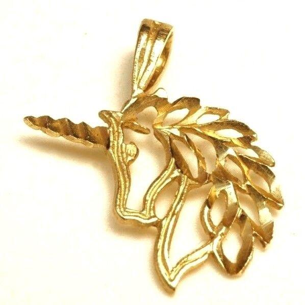 Beautiful   Filigree Unicorn   14K Yellow gold   Pendant   Size  3 4 (.6g)