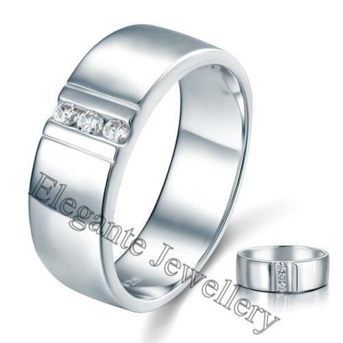 New Mens Solid 925 Sterling Silver Simulated Diamond Wedding Dress Ring Gift