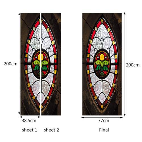 Creative 3d Door Sticker Art Old Wooden Glass Gate Pattern Removable AU Stock