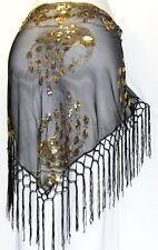 BLACK Tribal Belly Dance Dancing Burlesque Gothic Hip Scarf Shawl Fringe Belt
