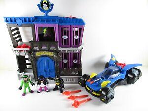 Imaginext-Gotham-City-Jail-amp-Batmobile-Batman-Penguin-The-Riddler-Figures-Bundle