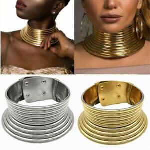 African-bijoux-vintage-collier-metallique-Bobine-Reglable-Tour-de-cou-Maxi-Col-Chaud