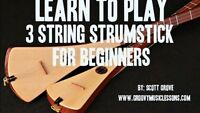 Beginners 3 String Strumstick Lessons Tuned Gdg Dvd. Dulcimer. Travel Instrument
