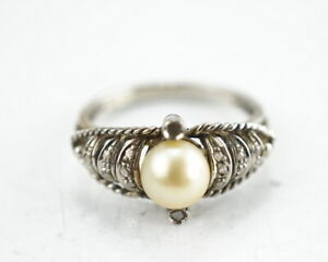 750er-Gold-Ring-Naturperle-Diamantsplitter-Edelstein-18K-Gelbgold-3-20g-Gr-52